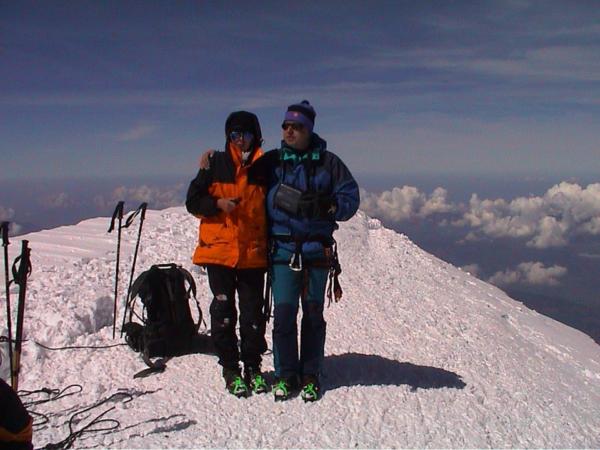 Vrcholové foto. Mont Blanc 4807m. Čas - pravé poledne.