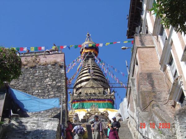Swayambhunath - prastará stúpa - symbol nepálského budhismu.