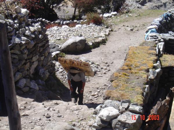 Pangboche a sherpa se stavebním materiálem.