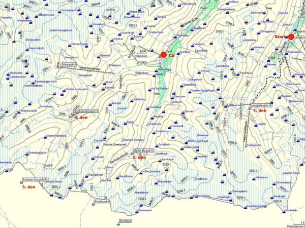 Mapa našeho 5ti denního pochodu.