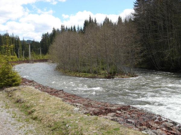 Místy se zdá být řeka docela divoká, takže koryto je zpevněné.