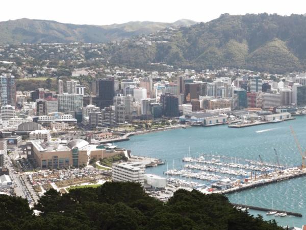 Pohled na přístav a muzeum Te Papa.