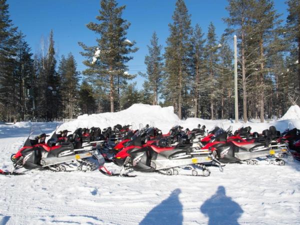 Stádo sněžných skůtrů připravených na vyjížďky.