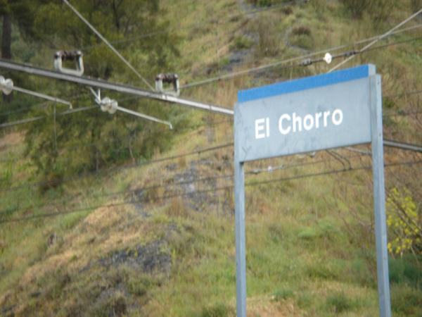 Železniční zastávka v kaňonu El Chorro.