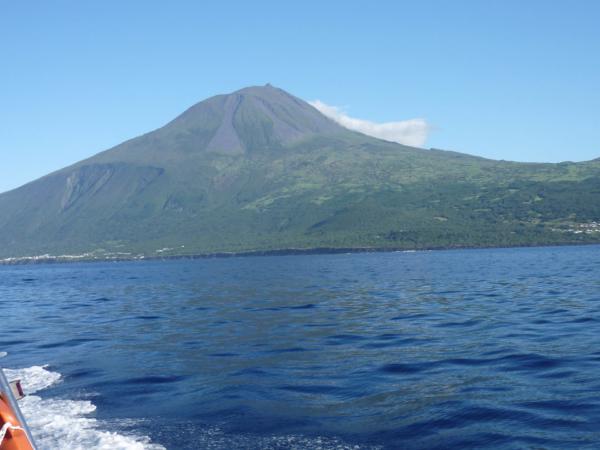 Hora Pico z jiné strany. Jsou dobře vidět kamenné sesuvy.