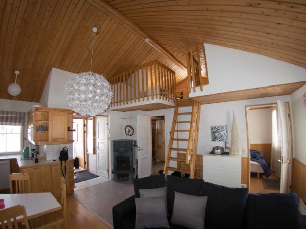 Interiér domečku v areálu Snowvillage, kde jsme strávili 2 noci.