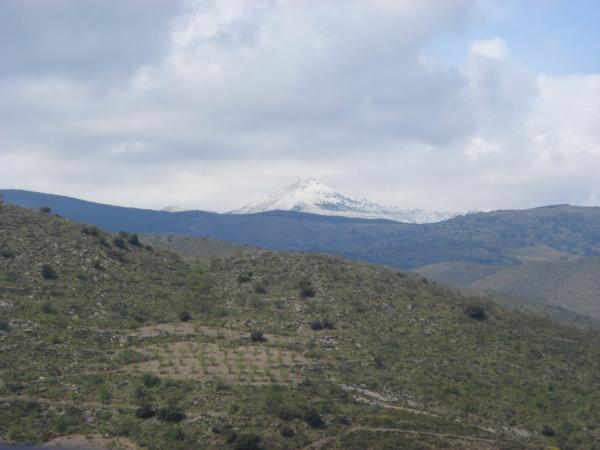 V dáli již jsou vidět zasněýené vrcholky Sierry Nevady.