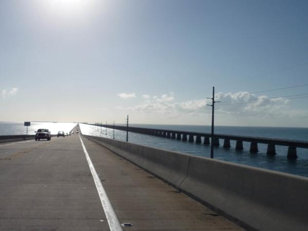 Impozantní pohled - starý a nový most, oba zatraceně dlouhé vedle sebe.