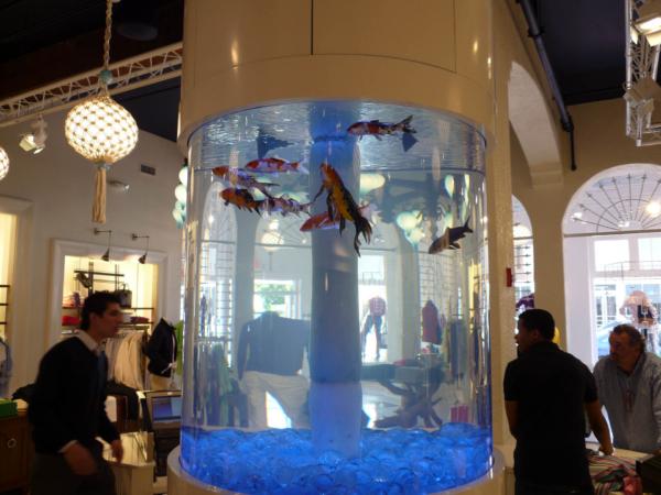 Akvárium v obchodě s módou.