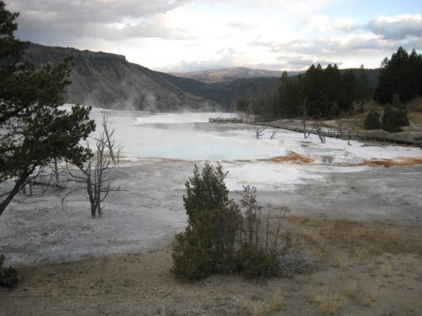 Mammoth Hot Springs u severního vjezdu do Yellowstonského NP z Montany.