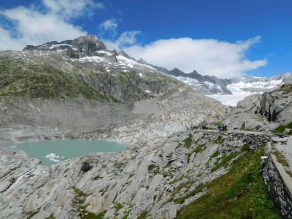 Konec Rhonského ledovce v sedle Furka.