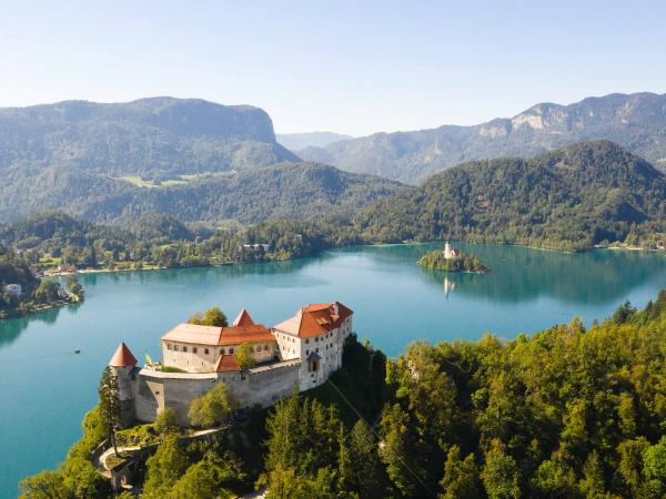 Bledský hrad na jezerem.